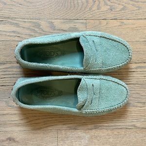 Seafoam Green Tod's Suede Loafers